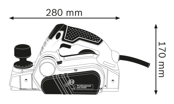 Рубанок электрический Bosch GHO 26-82 D габариты