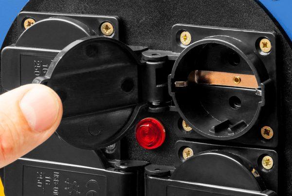 Удлинители на стальной катушке КГ 325 силовые 4 розетки