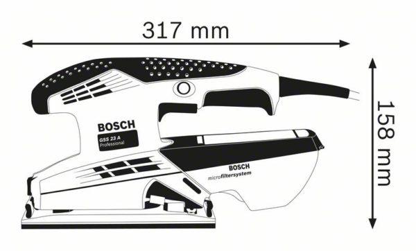 Вибрационная шлифовальная машина GSS 23 A размеры